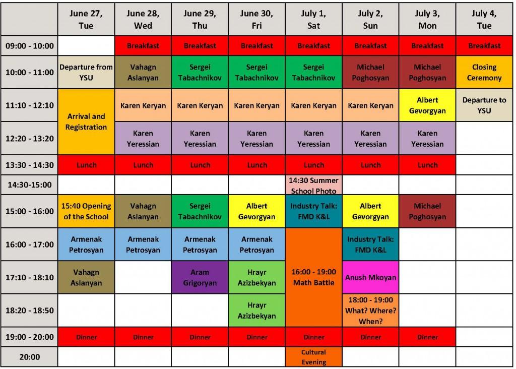 MSS 2017, Schedule
